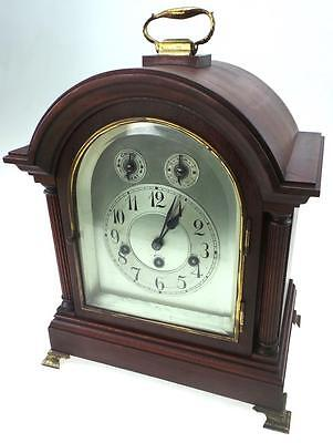German Westminster Mahogany Triple Train Musical 5 Gong 8 Day Bracket Clock