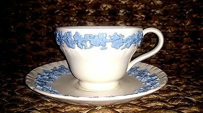 Wedgwood Queensware lavender on cream embossed Tea cup and saucer
