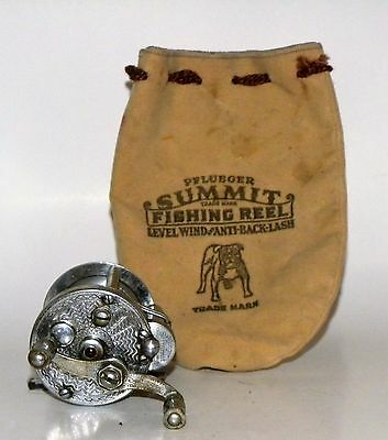 Vintage Pflueger Summit Fishing Reel And Pouch No Reserve