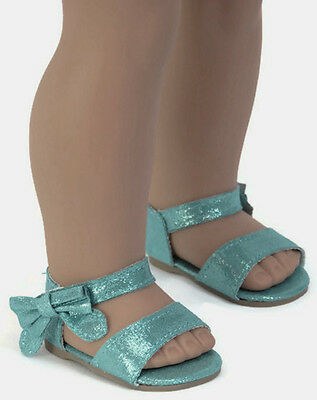 Teal Sandal Shoes with Bow for 18 inch American Girl Doll Clothes