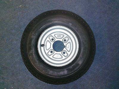 """Spare Wheel and Tyre 480 / 400 x 8""""  4"""" pcd 4 Ply with grease nipple cut out"""