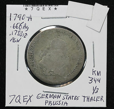 1790 A Prussia 1/3 Thaler Silver Coin KM 344