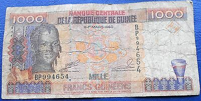 1998 Bank of Guinea 1000 Francs Girl Issue Circulated  # M271