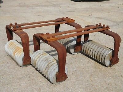 VINTAGE ~ HERSHEY CHOCOLATE Conche Roller CAST IRON & GRANITE Legs Table Base