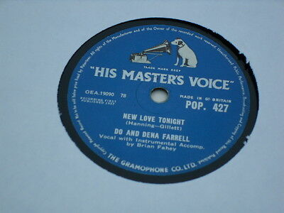 """Do And Dena Farrell 78 Rpm """"new Love Tonight/young Magic"""""""