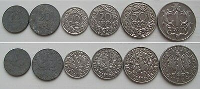 6 old polish coins - before WWII & WWII - 1923 - 1929 - good condition