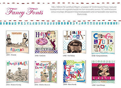 100 Wholesale Greetings Cards 'Fancy Fonts' - Top Quality