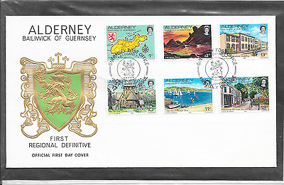 Guernsey Alderney First Definitive 1P To 12P  Fdc