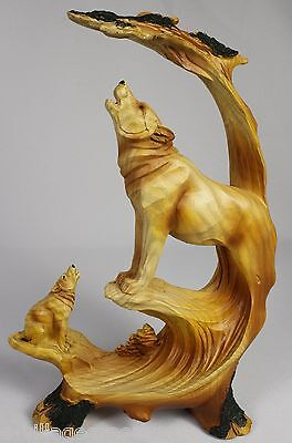 WOLVES WOOD LIKE CARVING Figurine Statue Faux NEW Wildlife Wolf Dog Husky