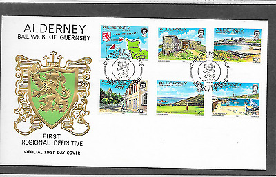 Guernsey Alderney First Definitive 13P To 18P  Fdc
