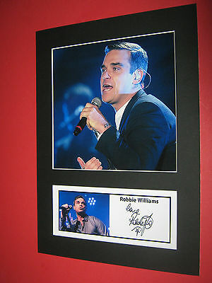 Robbie Williams A4 Photo Mount Signed Pre-Printed Take That Ticket Cd