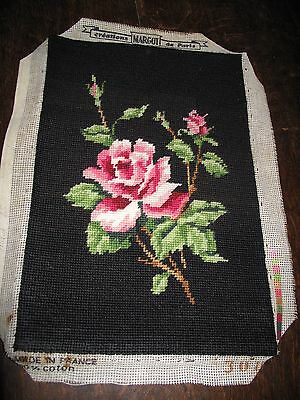 Completed Tapestry Pink Roses Hand stitched panel