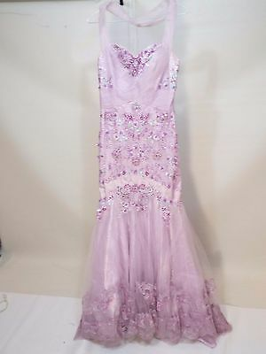 Lavender wedding beads stones dress gown with train size S free shipping