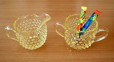 Yellow Hobnail Depression Glass Creamer & Sugar Bowl ~ Mint Condition