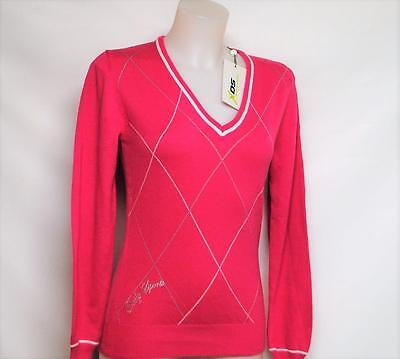 New Ladies XS Daily Sports Cynthia long sleeve cotton acrylic golf sweater Pink
