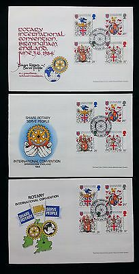 3 Different Commemorative Covers From 1984 Rotary Convention Birmingham