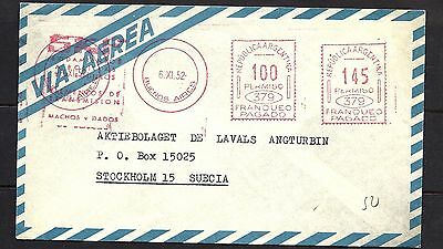 1952 Argentina Air Mail Cover to Sweden w Special Handstamp in Red