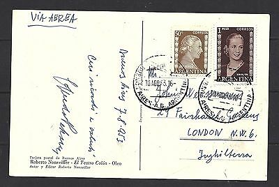 1953 Argentina Air Mail Post Card to England