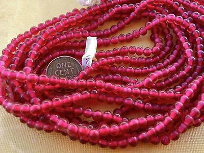 Vintage 5mm Translucent Pomegranate Red Glass Beads Japan 50