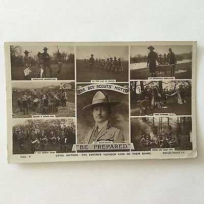 "Boy Scout Post Card Baden-Powell ""BE PREPARED"" With Half Penny Stamp"