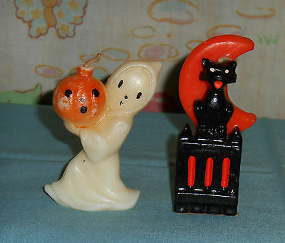 vintage Halloween GURLEY CANDLE LOT OF 2 cat on fence, ghost carrying pumpkin