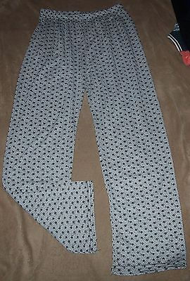 Ladies Wide Leg Patterned Trousers Size S/m