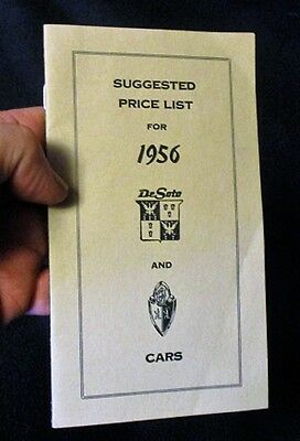 1956 DeSOTO & PLYMOUTH PRICE LIST BOOKLET