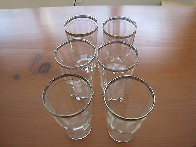 Vintage silver rimmed tumblers water glasses-set of six