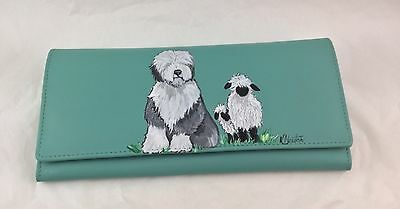 HAND PAINTED Old English Sheepdog turquoise  leather wallet