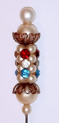 Antique Exquisite Jewelled and Pearl Hat Pin