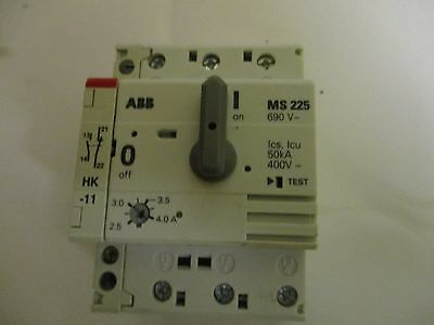 MS225 ABB motor circuit breaker and auxilliary 2.5-4.0AMP