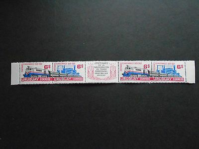 URUGUAY Strip of 4 Stamps Mint Hinged