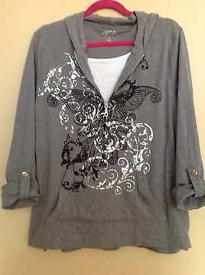 Style&Co Sport Women's Zip Butterfly Printed Hoodie Pullover Shirt Gray Size XL