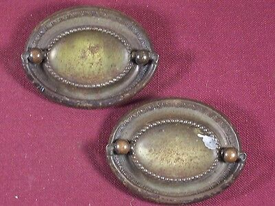 Pair of Vintage / Antique Drawer Pull Handle Part Hardware Dresser Oval Plate