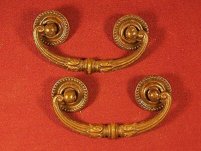 Pair of Vintage / Antique Drawer Pull Handle Part Hardware Dresser Pulls Brass