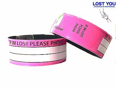 Pink, Children's Id Wristband-Water Proof Fun Slap Id Band