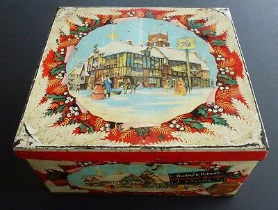 """1950's HUNTLEY & PALMER """"CHRISTMAS ASSORTED"""" BISCUIT TIN"""