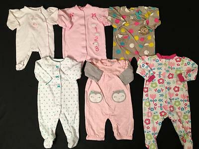 Baby Girls Carters Newborn 0,3 3 Months Footed Sleepers Pajamas Clothes Lot G35