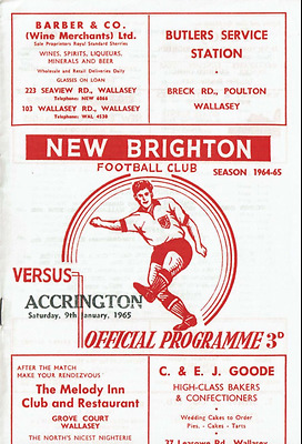 MEGA RARE New Brighton v Accrington programme: 1964-65: Ex-Football League clubs