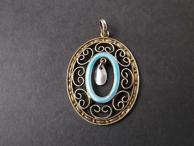 766 / Beautiful And Fine Late Victorian Gilded Silver And Enamelled Pendant