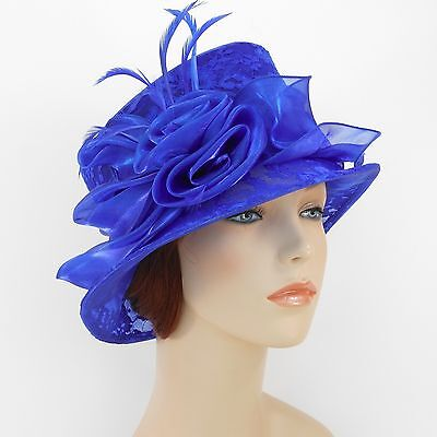 New Woman Church Hat Kentucky Derby Hat Organza Lace Dress Hat 1687 Royal Blue