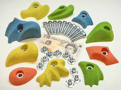 10x MIX COLOUR  BOLT-ON ROCK CLIMBING WALL HOLDS SET & FIXINGS INC.