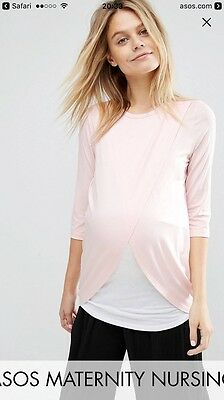 ASOS Maternity NURSING Top With Wrap Overlay Blush Size 8