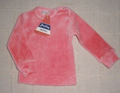 Vintage Baby Velour Long-sleeve Top - Age 3 months - Pink - Cotton/Nylon - New