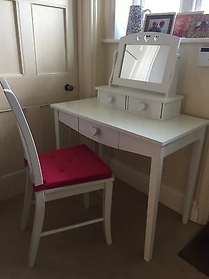 Children's desk or dressing table with matching chair and mirror.