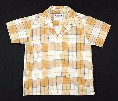 Vtg 1970s Marksman Button Down Shirt Sz 10 Youth Plaid