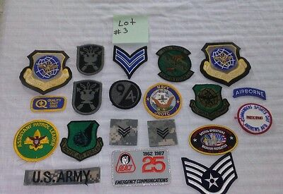 Large Lot Of 20 Assorted US Military Patches L@@K. Lot # 3