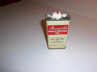 Scarce Vintage Advertising Tin for Russell's Honing & Sharpening Oil Can