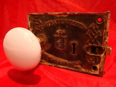 ANTIQUE CIVIL WAR ERA 1863 RIM LOCK DOOR KNOB SET LOCK BOX BLW BENNINGTON c
