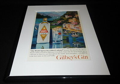 1962 Gilbey's Gin Framed 11x14 ORIGINAL Vintage Advertisement